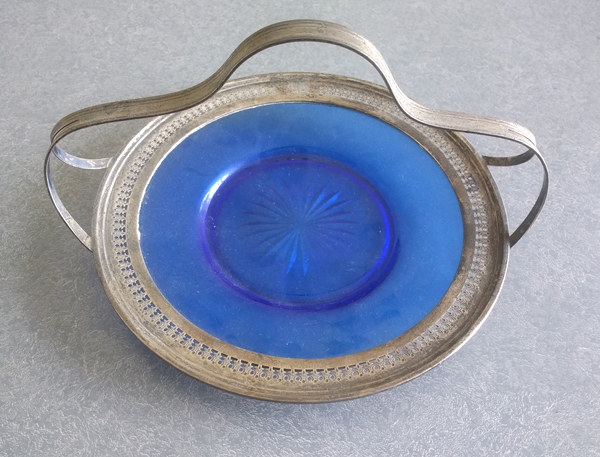 Glass plate with tarnished sterling silver rim