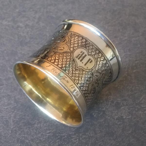 Antique German silver napkin ring polished
