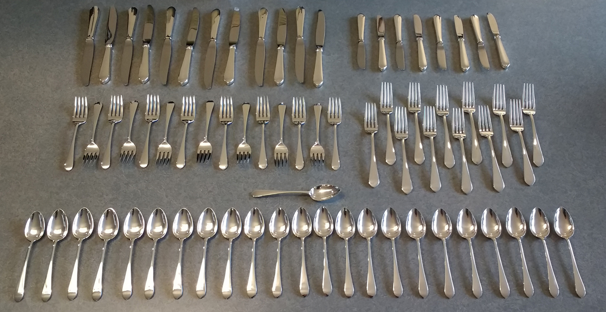 sterling silver flatware set knives, forks, spoons, polished