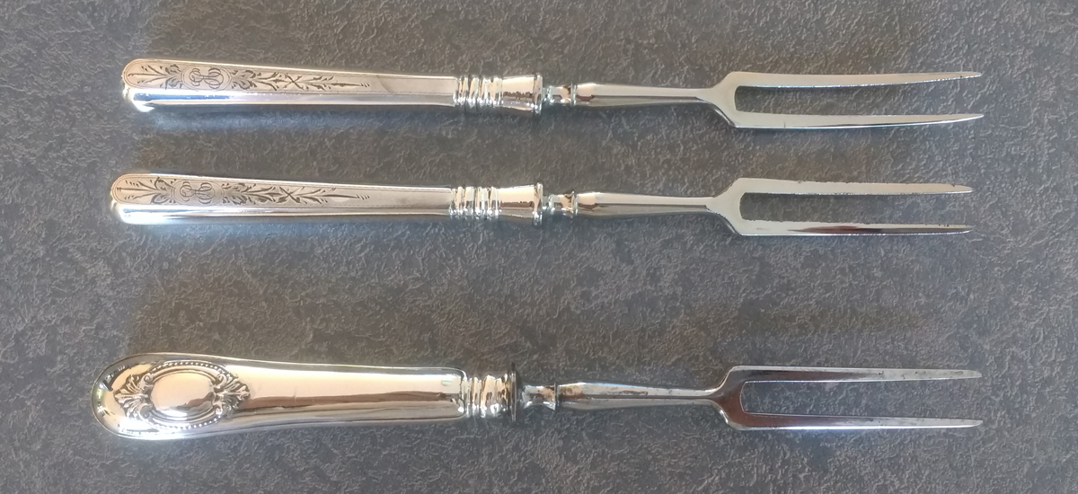 antique sterling silver handles steel fork polished