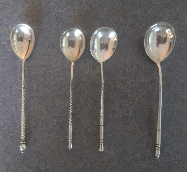 antique European silver spoons polished