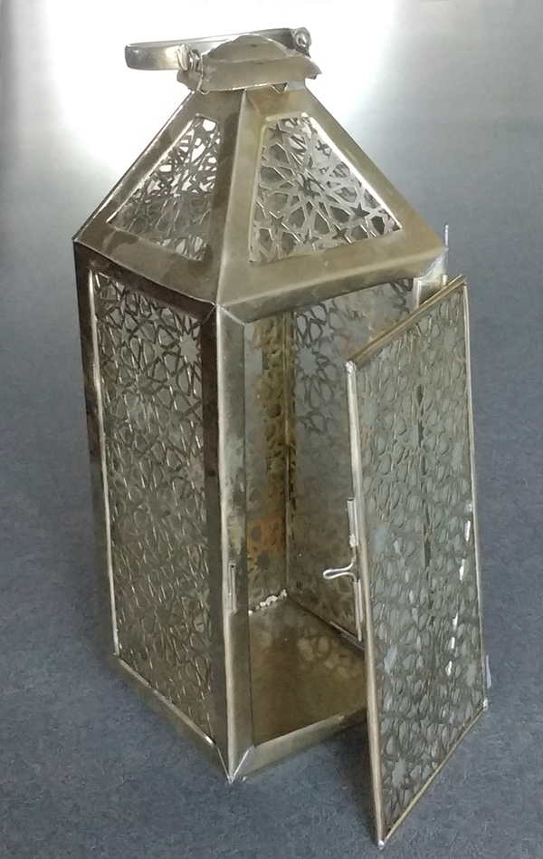 sterling silver pierced lantern from Morocco broken glass and hinge
