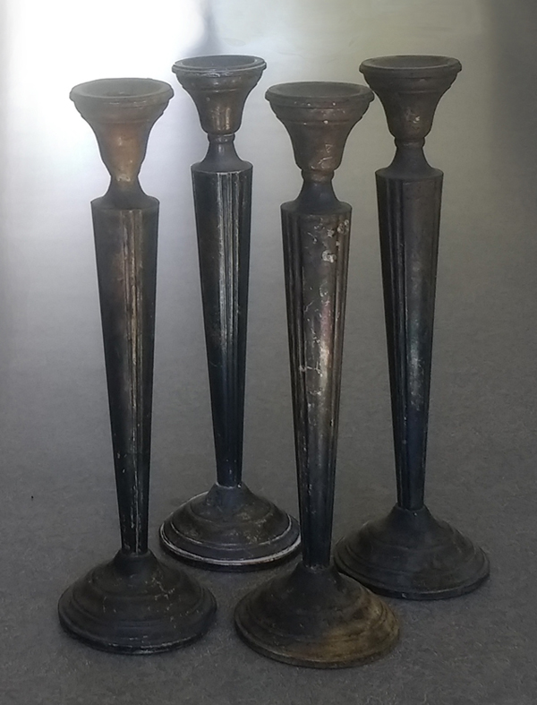 Sterling silver candlestick black with tarnish