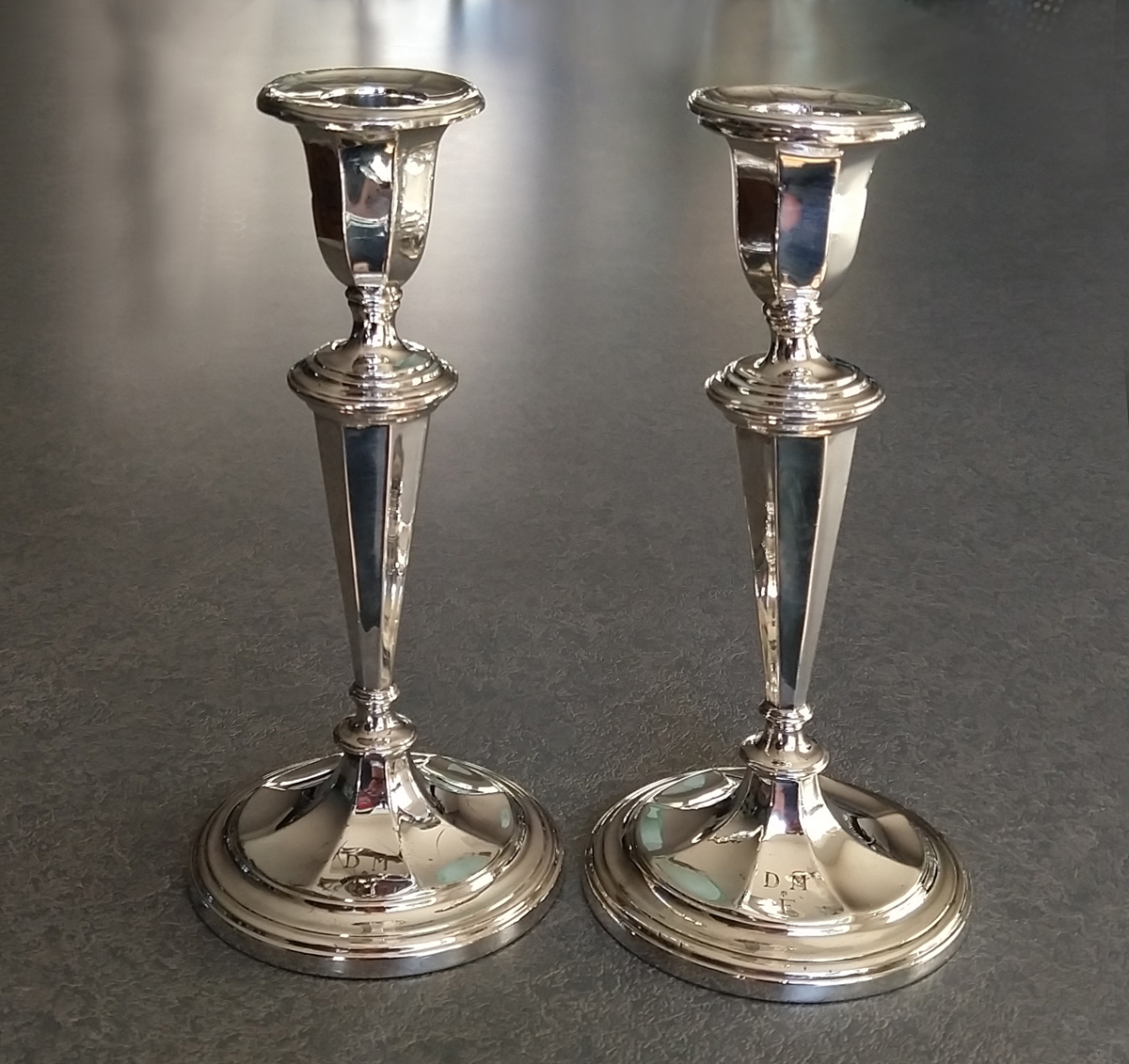 sterling silver candlesticks polished and straightened