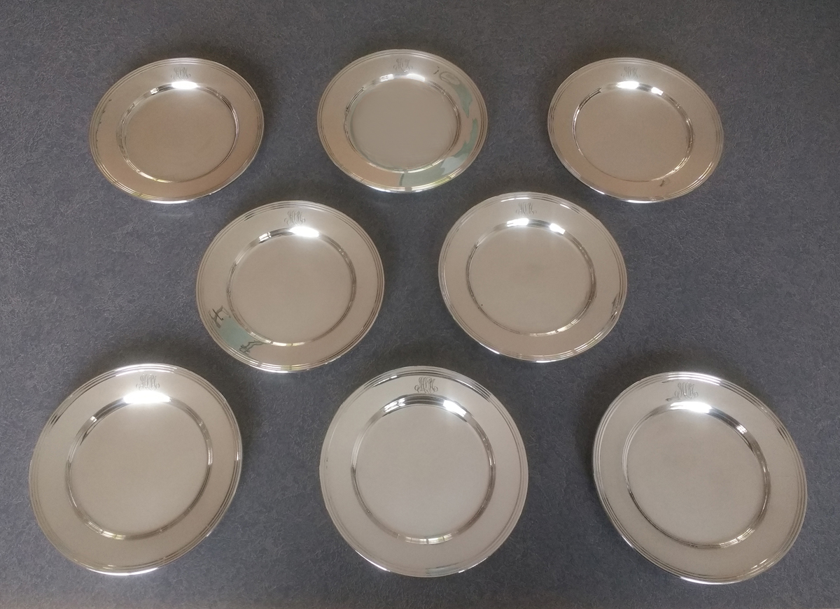 sterling silver appetizer bread & butter plates polished