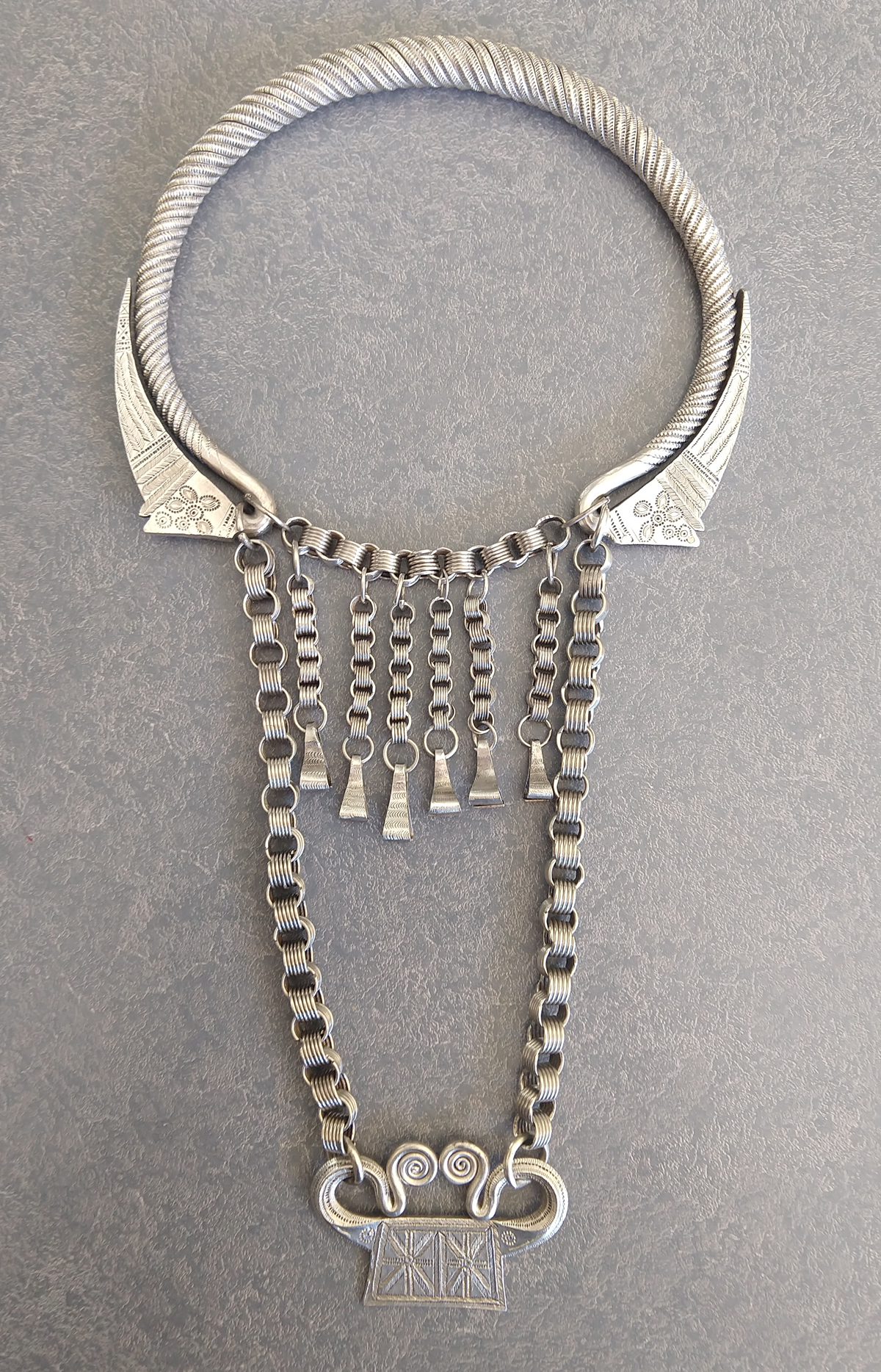 silver Tibetan tribal necklace polished