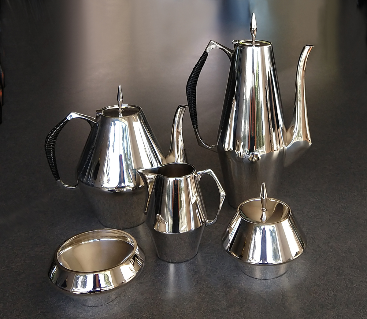 Sterling Diamond 20th-century tea and coffee service after restoration