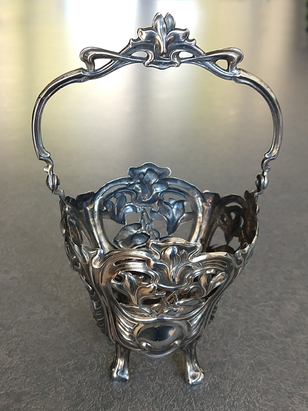 silver 800 vase with foot repaired and vase polished
