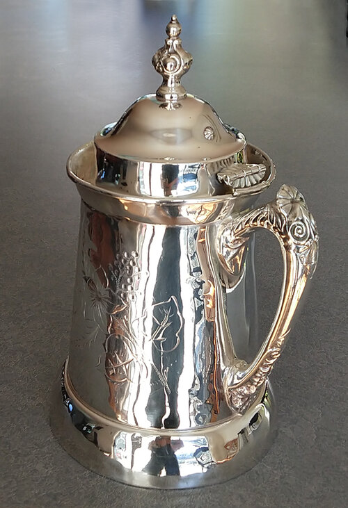 Hinge repair full view on antique silverplate white metal