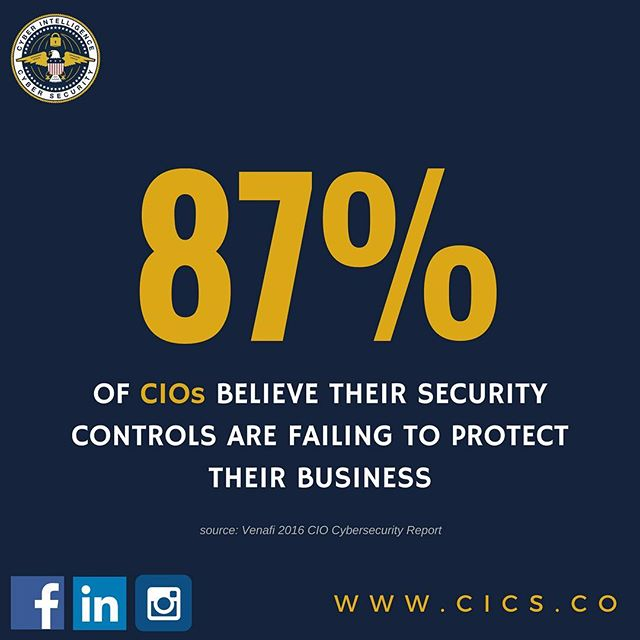 A January 2016 survey conducted by Vanson Bourne, an independent technology market research provider, asked 500 enterprise CIOs in the U.S., U.K., France, and Germany about their cybersecurity efforts. The results show IT executives understand their cybersecurity approaches are failing and agree they are wasting money on inadequate security controls. Visit us on www.cics.co to learn about how we can improve your cybersecurity efforts. #cybersecurity #cics #infosec #CIO