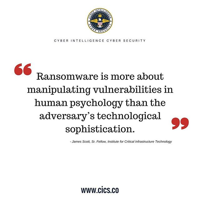 In 2016-2017, 70% of businesses infected with ransomware paid the ransom. In many cases, businesses determine it is easier and more cost-efficient to pay up than to find other ways to resolve the problem (especially if they don't have an adequate data backup system in place). That is exactly the predicament that attackers want. Of the businesses that paid the ransom, 1 in 5 never got their files back. #CICS #CyberIntelligenceCyberSecurity #cybersecurity #infosec #ransomware (sources: invenioIT, Barkly, Sensors Tech Forum)