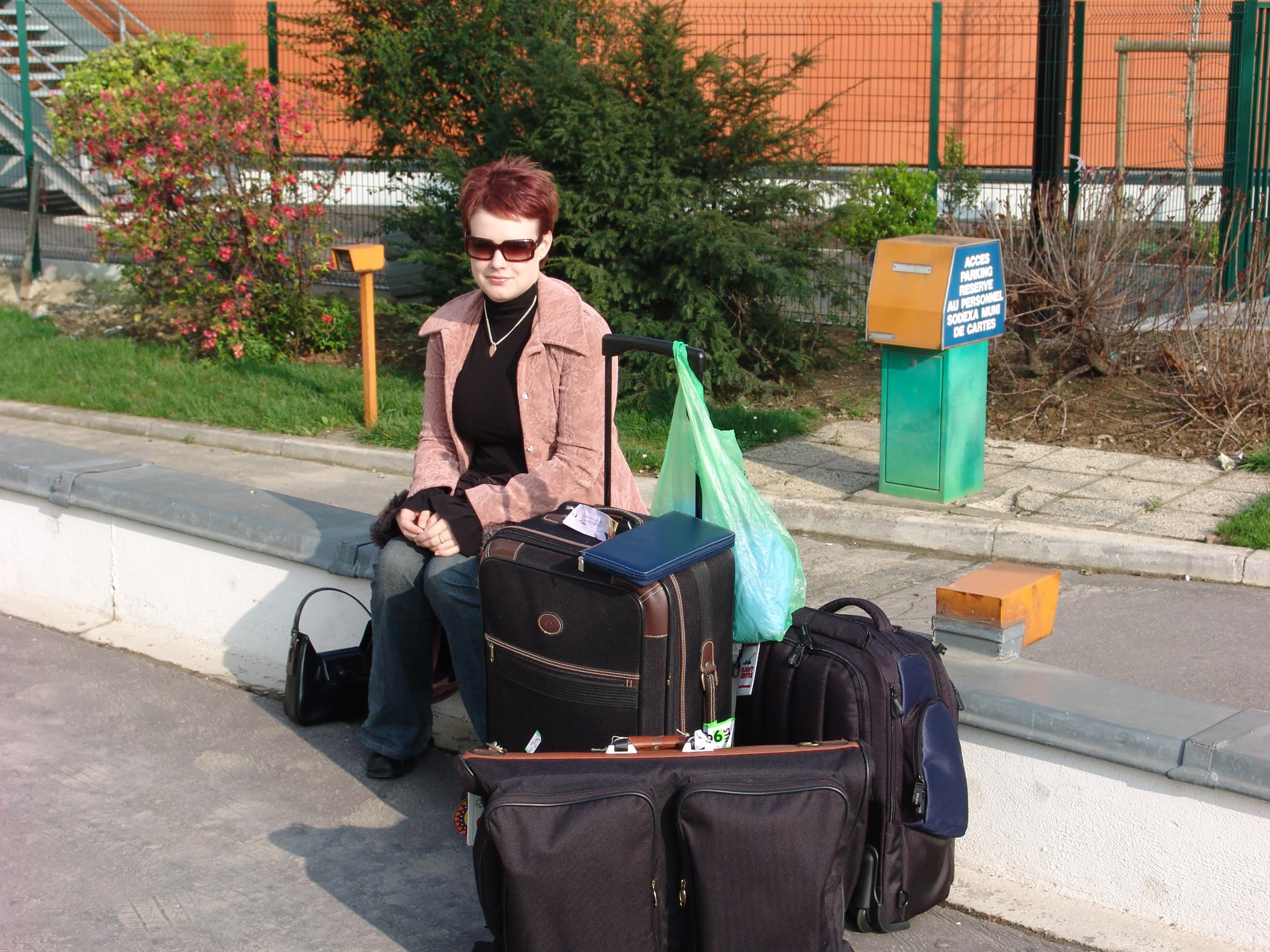 Bridget Young - Pictured on the move. Bridget is our European art and history expert. PS these are not just her bags, God no.