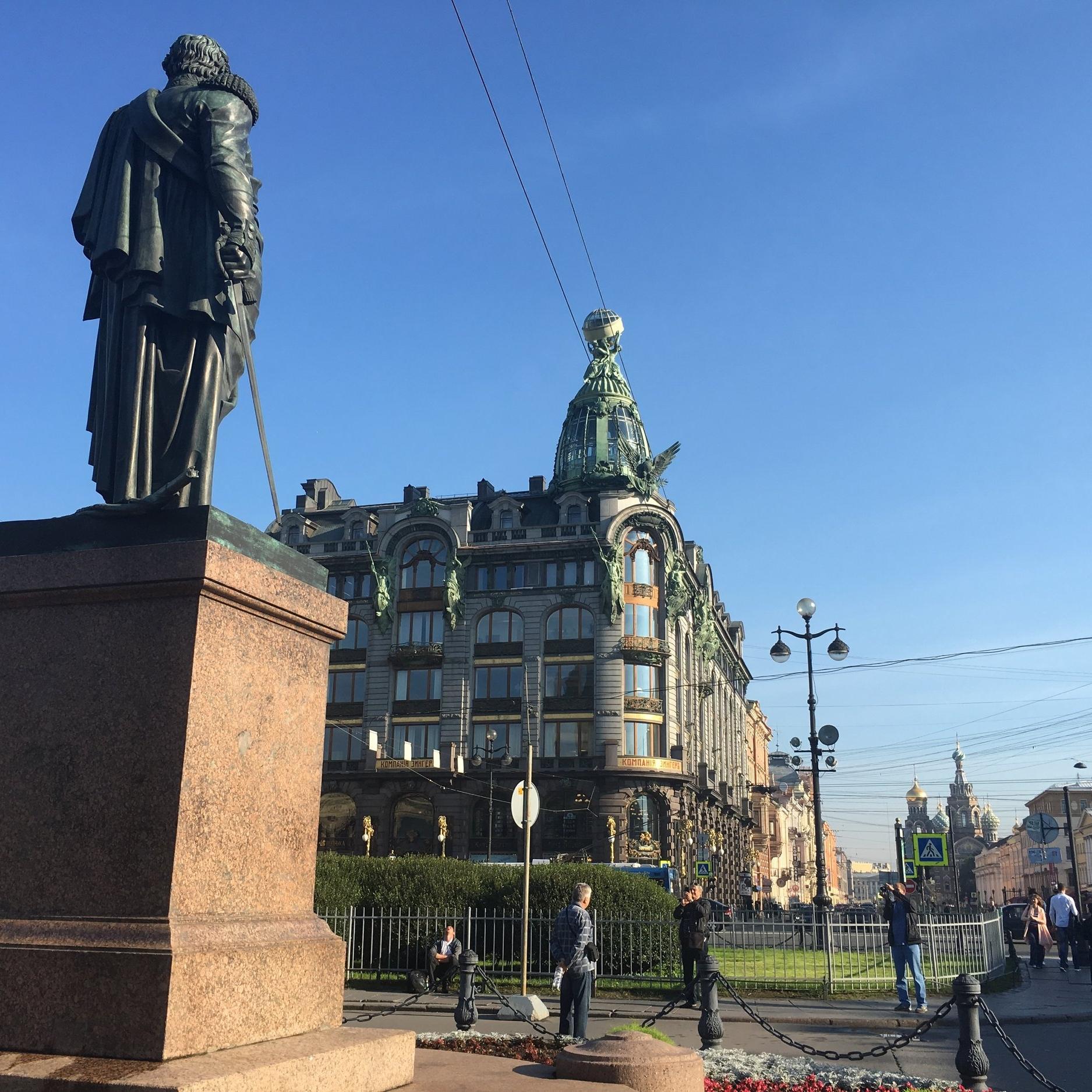 Nevsky Avenue, outside Kazan Cathedral, by The Doubtful Traveller