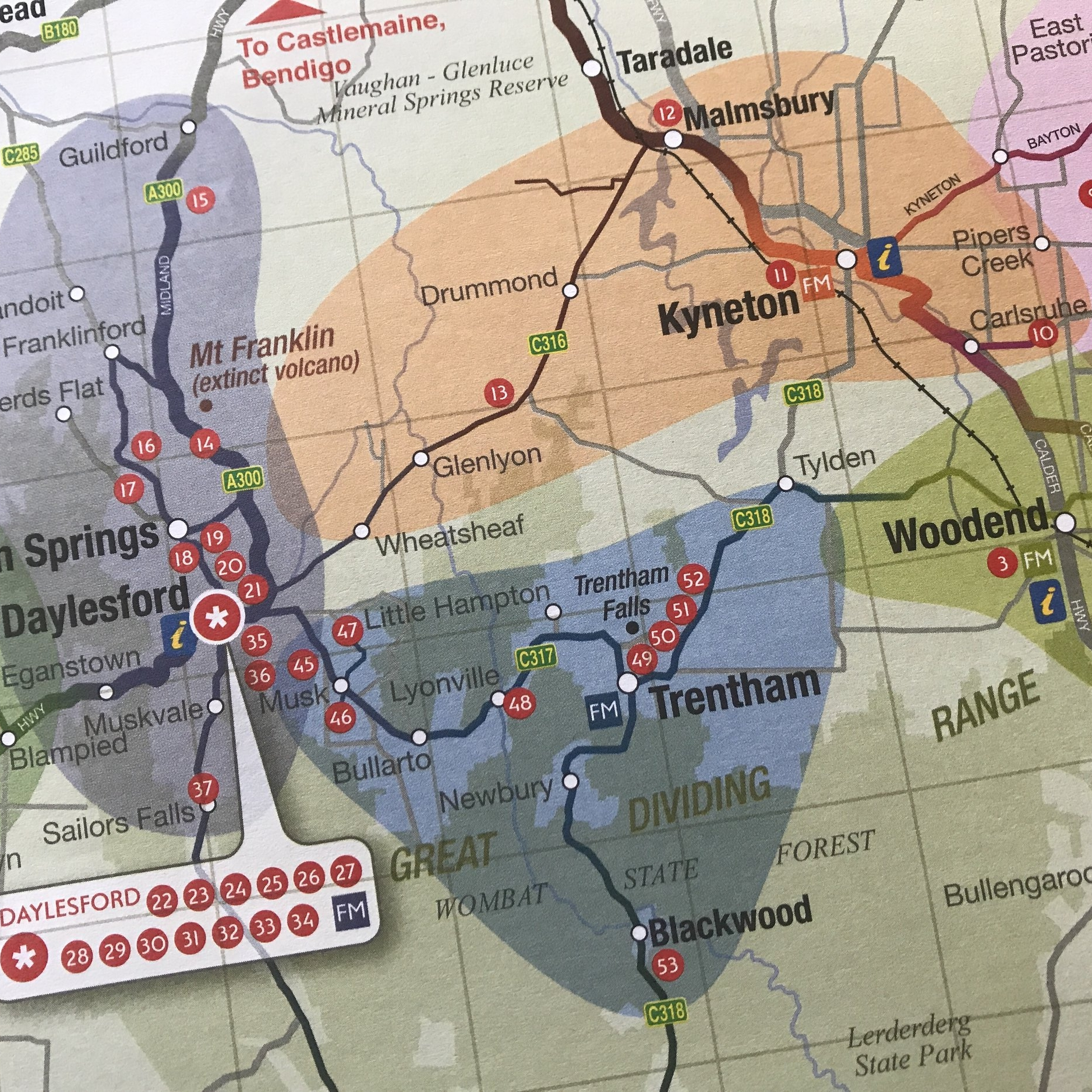 Side trip from Melbourne: tourist map of the Macedon Ranges area, by The Doubtful Traveller