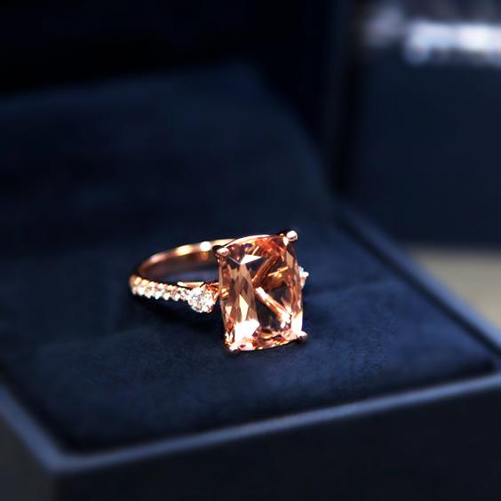 Custom morganite and diamond rose gold ring by  Coast Diamonds .