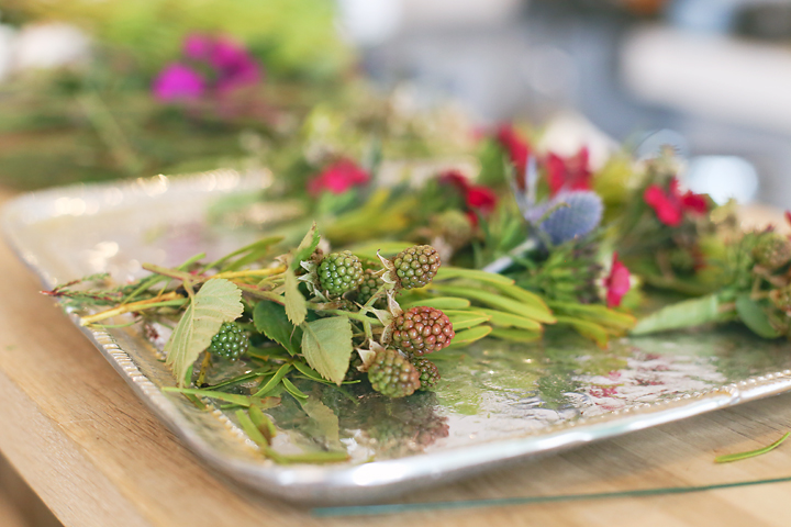 Natural additions like these raspberries were chosen to lend an earthy element to Jill's design