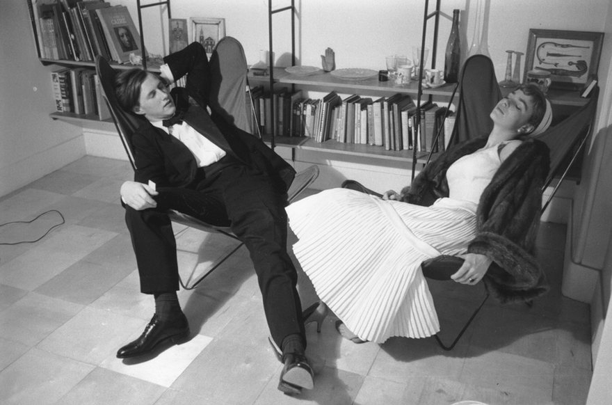 Terence Conran at home with his wife, Shirley, 1955. Photograph: Thurston Hopkins