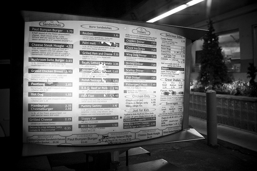Ypsi Project : Chick Inn Drive-In Menu (via  ericarhiannon )   Xander and I decided to eat at the Chick-Inn Drive-In tonight. We had never been there before and it seemed like a neat place. We both ordered hot dogs and fries….Xander was super impressed with the little cardboard 58' Pontiac Bonneville box that his food came in. I have to admit I was too.  Our server was a very sweet girl who's name I have completely forgotten. I do remember that she told me she was very interested in photography and journalism.