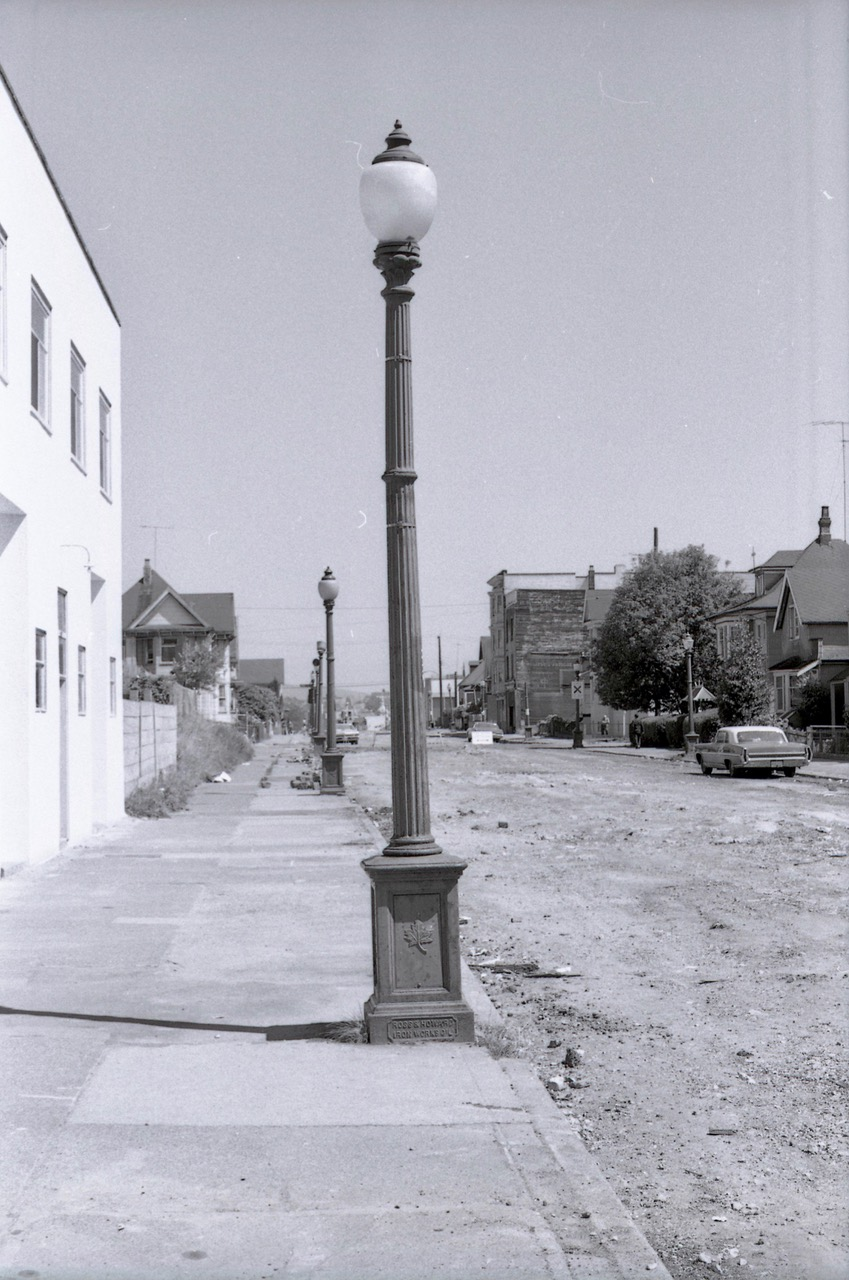 Looking east on Georgia. (With regular painting, these cast iron bases could still be in use today.)