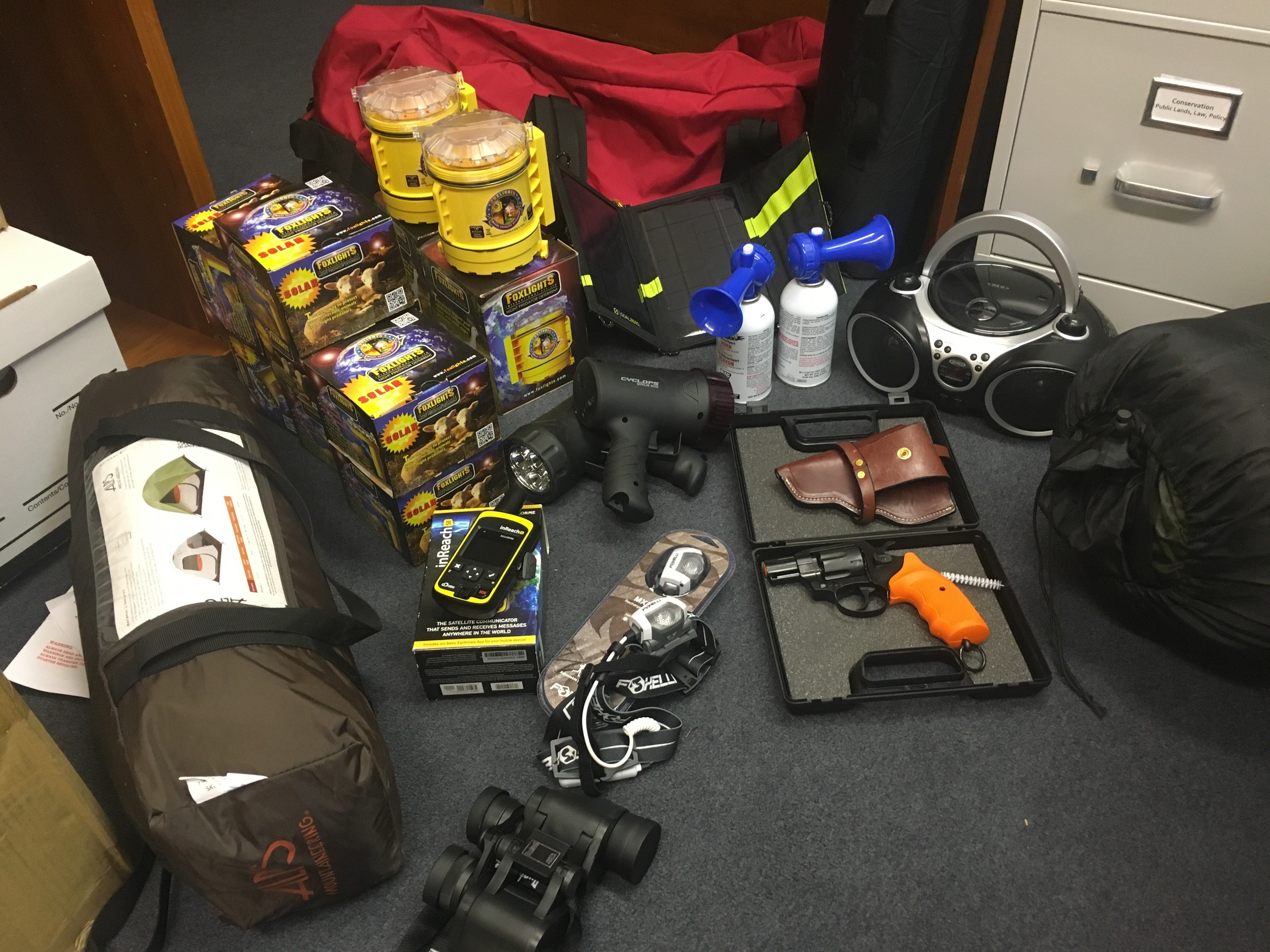 Contents of the Wood River Wolf Project Band Kits. Photo: Avery Shawler