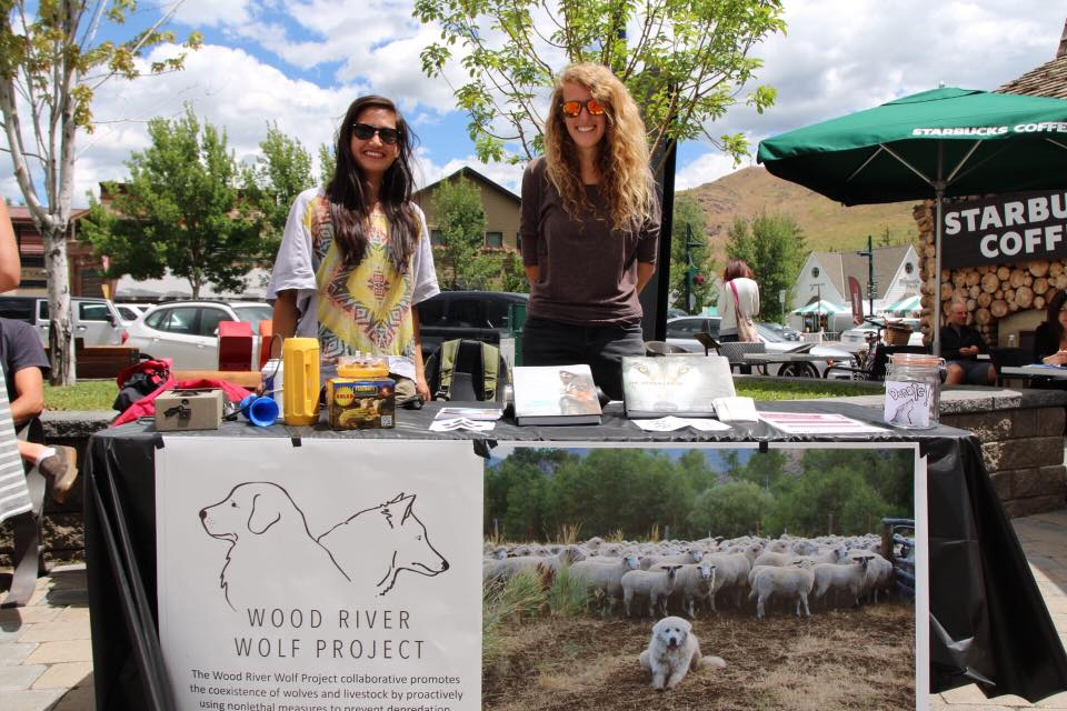 Avery and Lauren with the Wood River Wolf Project booth in Ketchum Town Square. Photo: Phoebe Bean