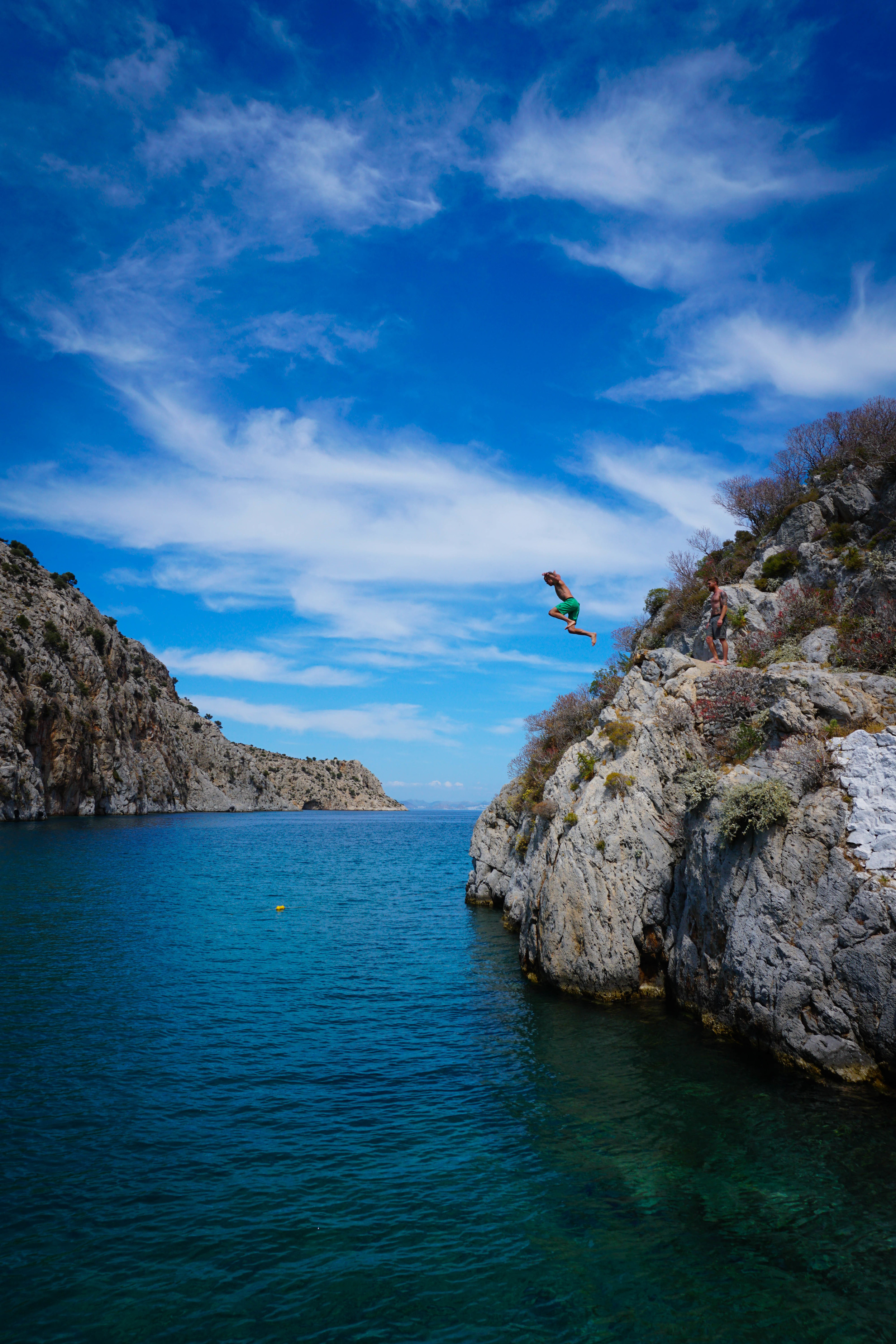Rest day activity: cliff jumping in the nearby town of Vathi