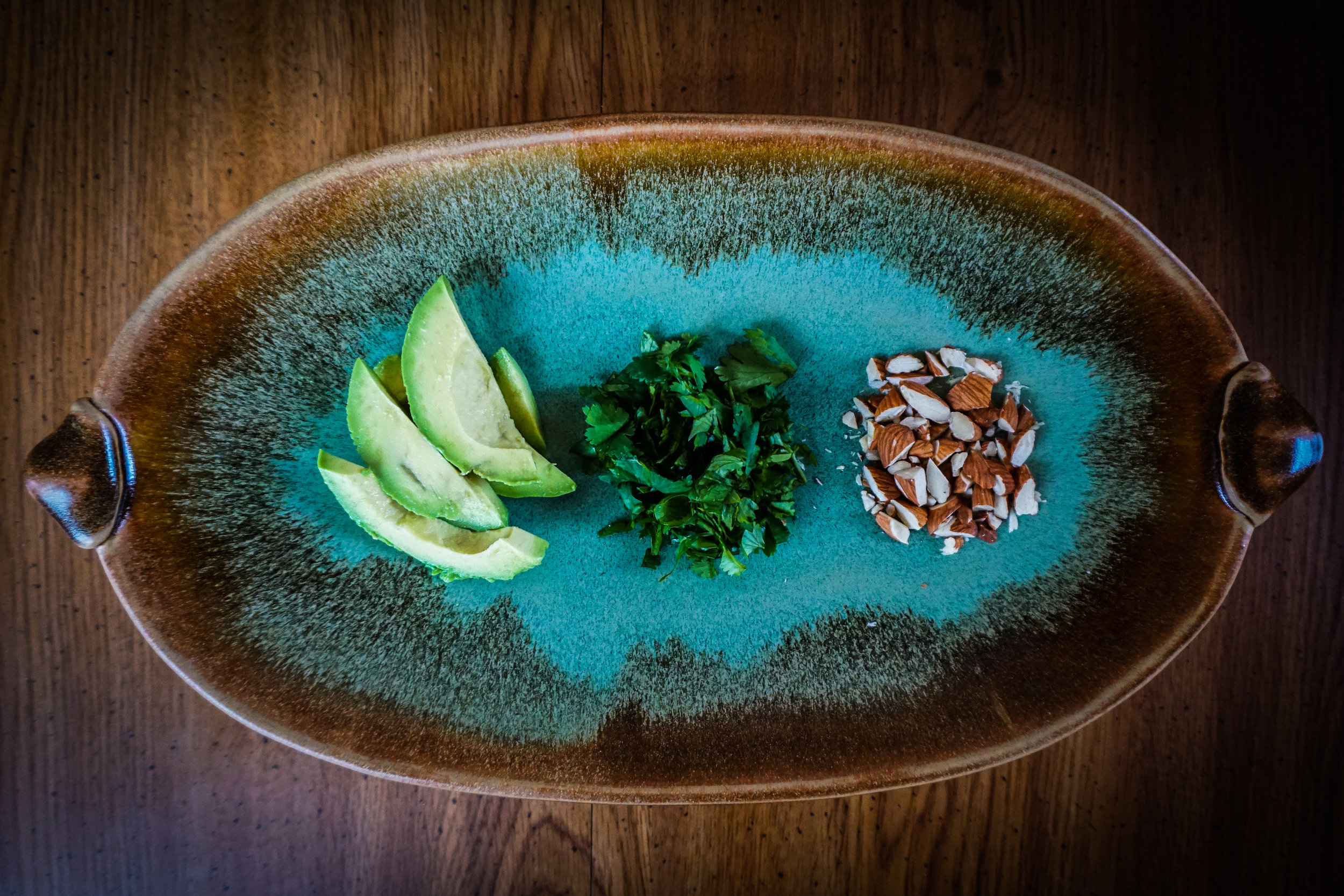 For garnish I chopped up almonds and cilantro and sliced some avocado.