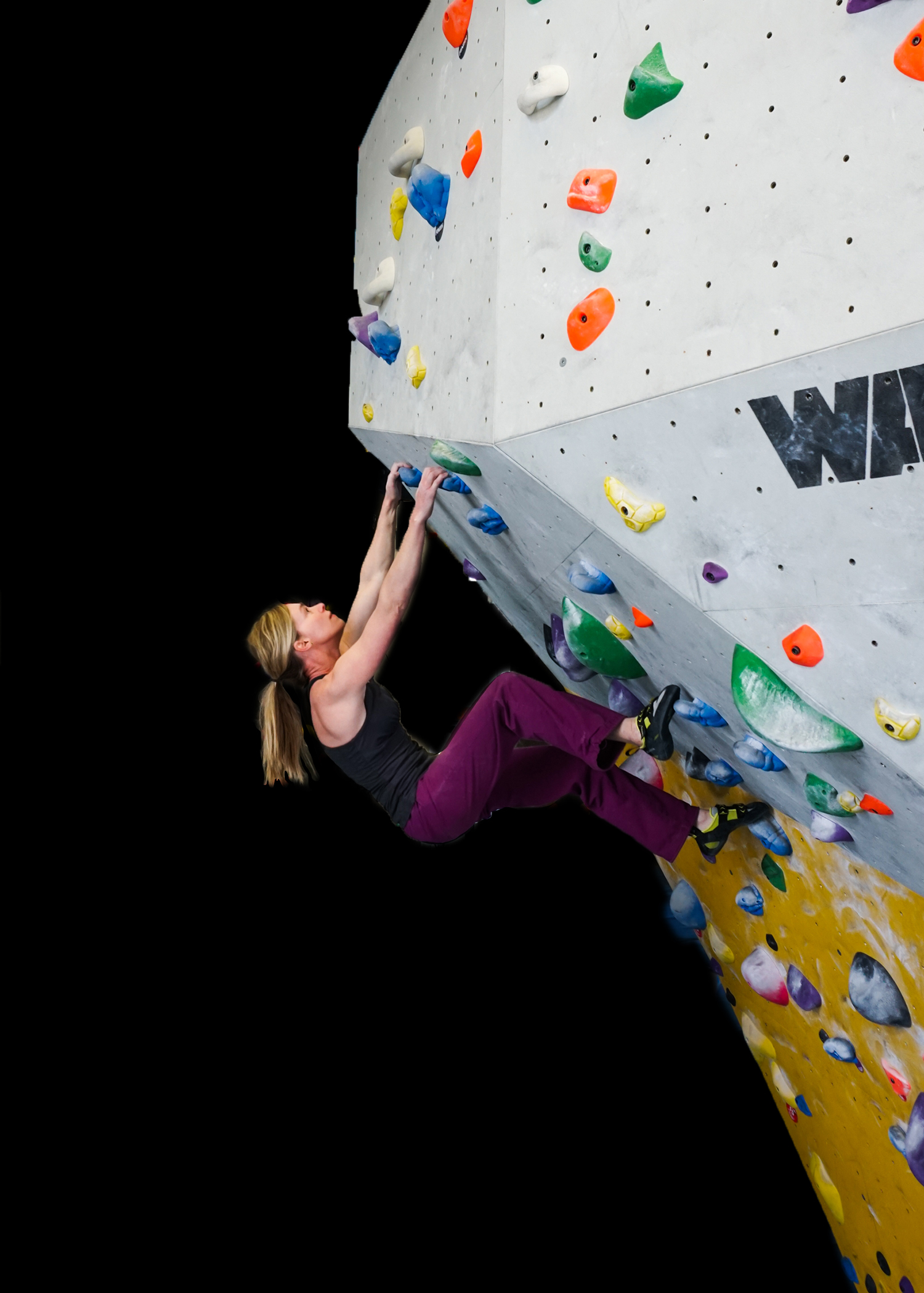 Strong woman climbing and training mother