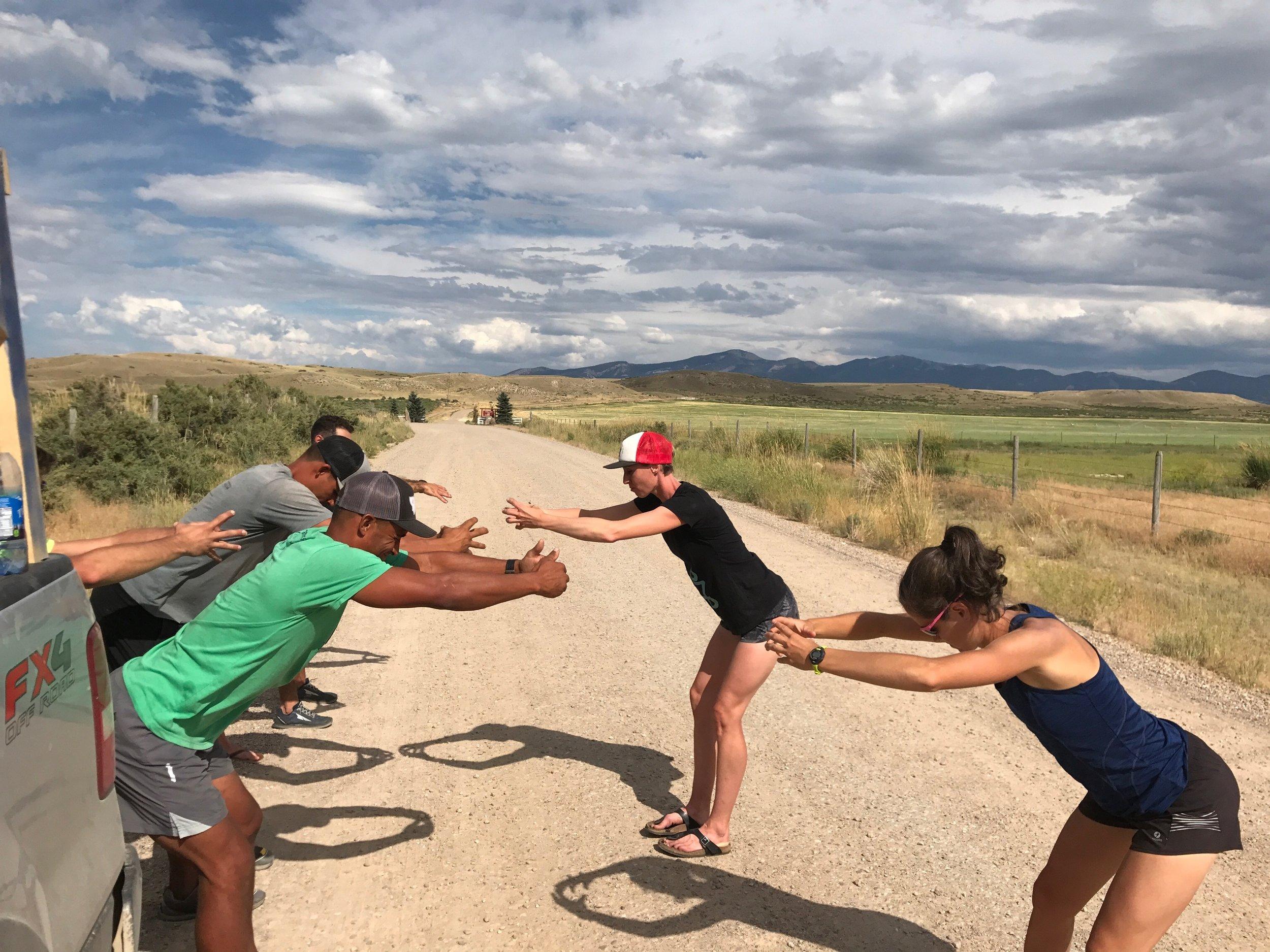 Heidi teaching Foundations between legs of a race. Photo by Caleb Ransom.
