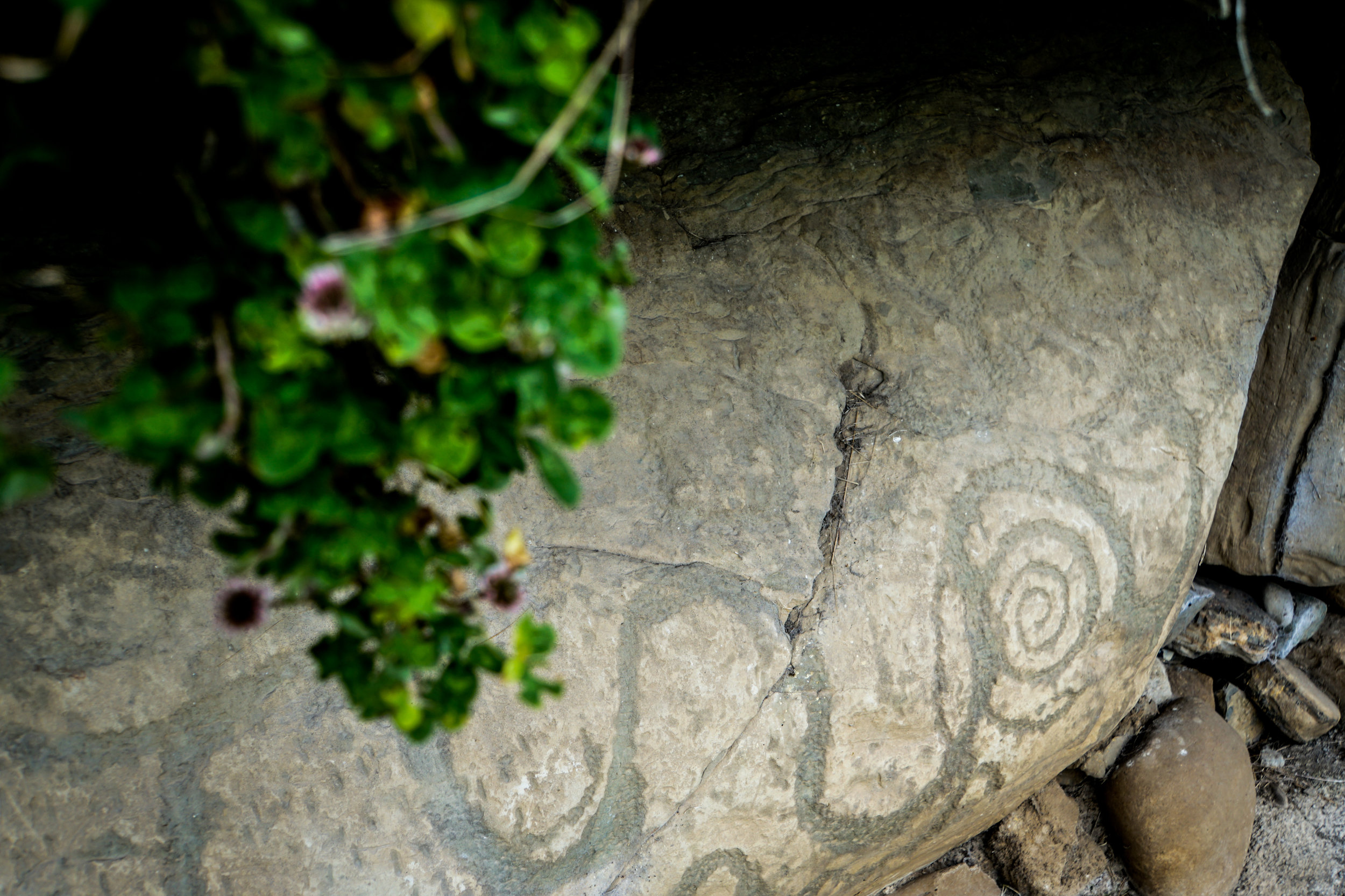 The ancient peoples of Ireland carved spirals and snakes into the stones supporting the mound.