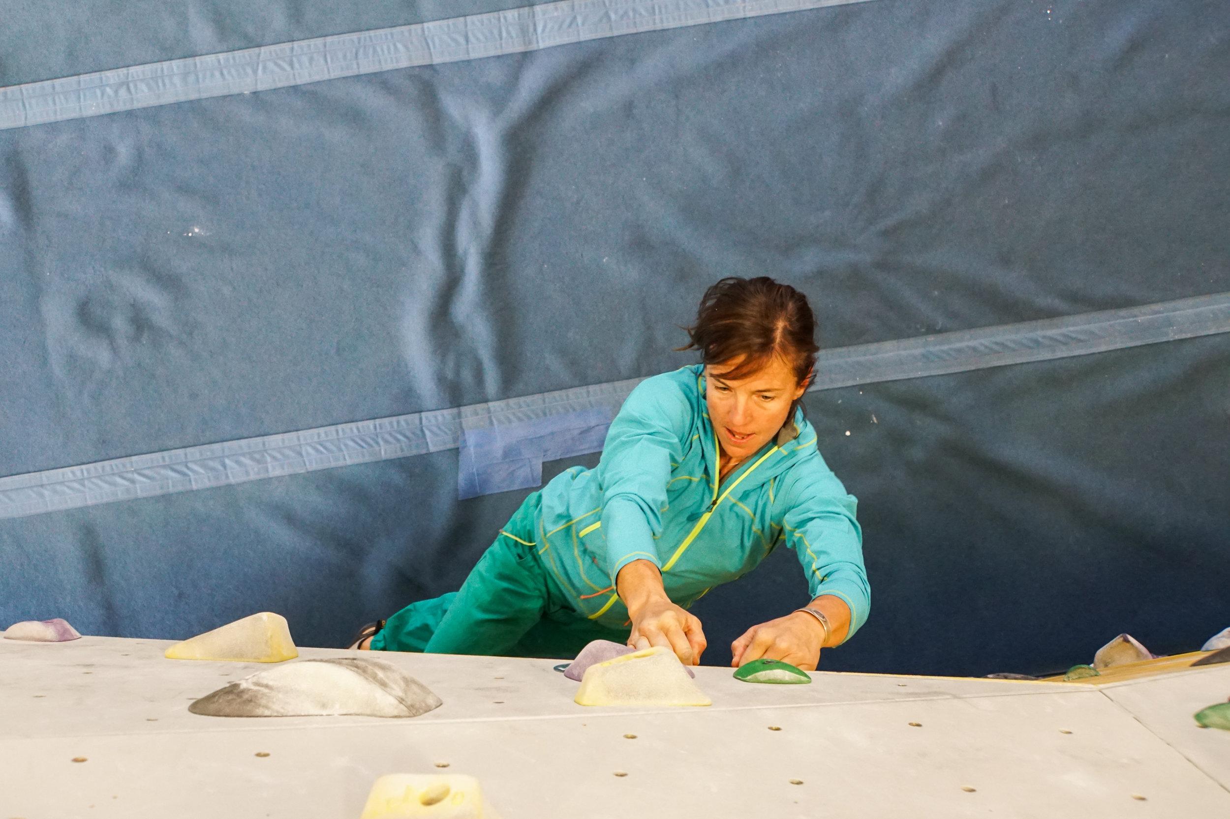 Climbing indoors training women strong