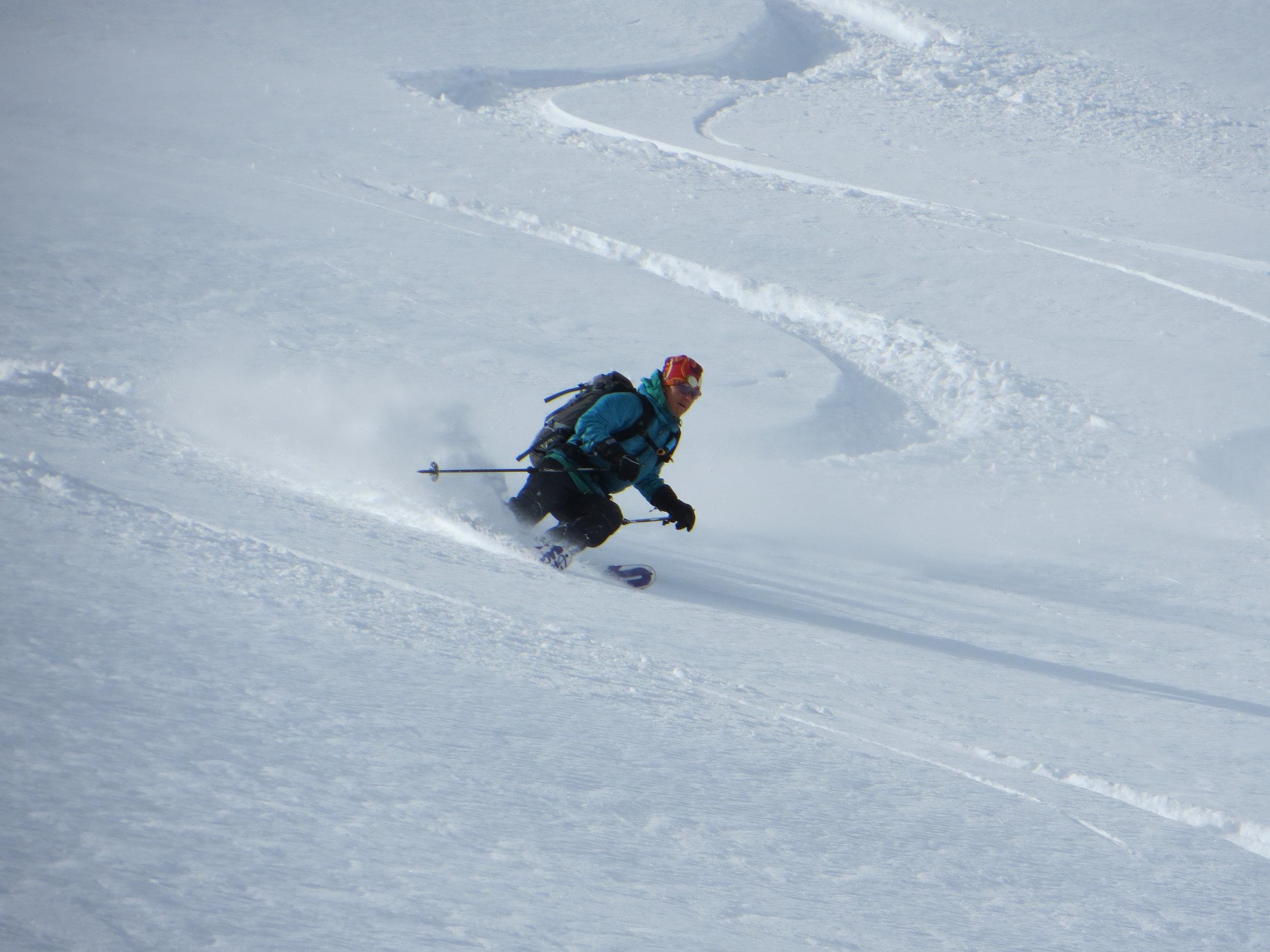 Jeannie Wall skiing Bozeman Montana powder