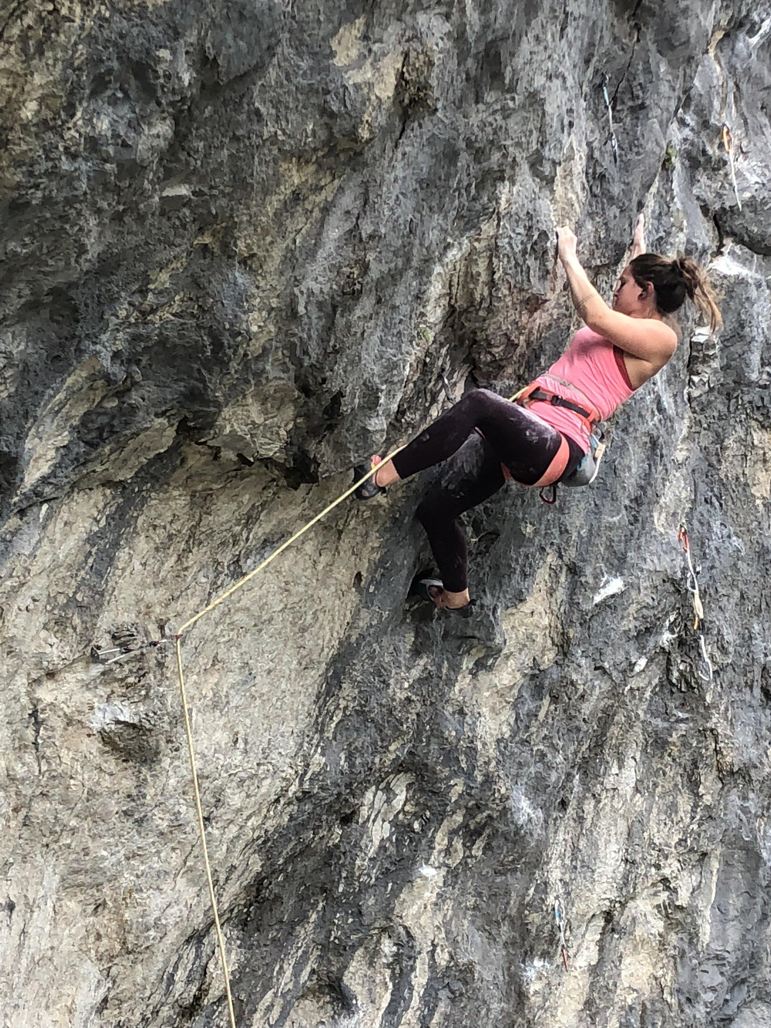 Chelsea climbing Dr. Bland's Muscle Building Traverse at Metaline Falls, Washington. Photo by Brett Jessen.