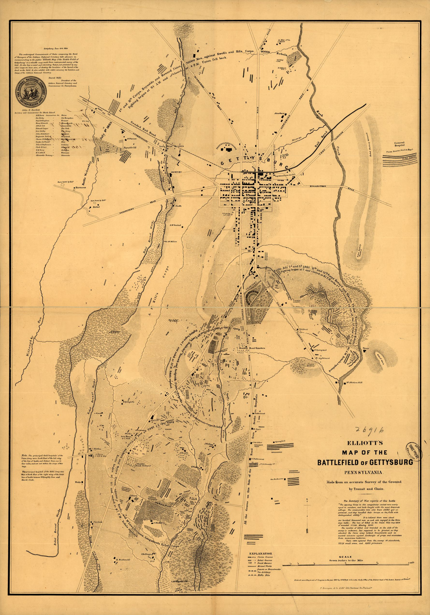 Elliott's Map of Gettysburg, with all the gravesites marked