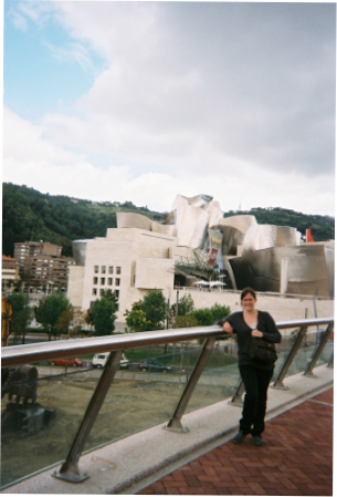Outside the Guggenheim Museum in Bilbao, Spain