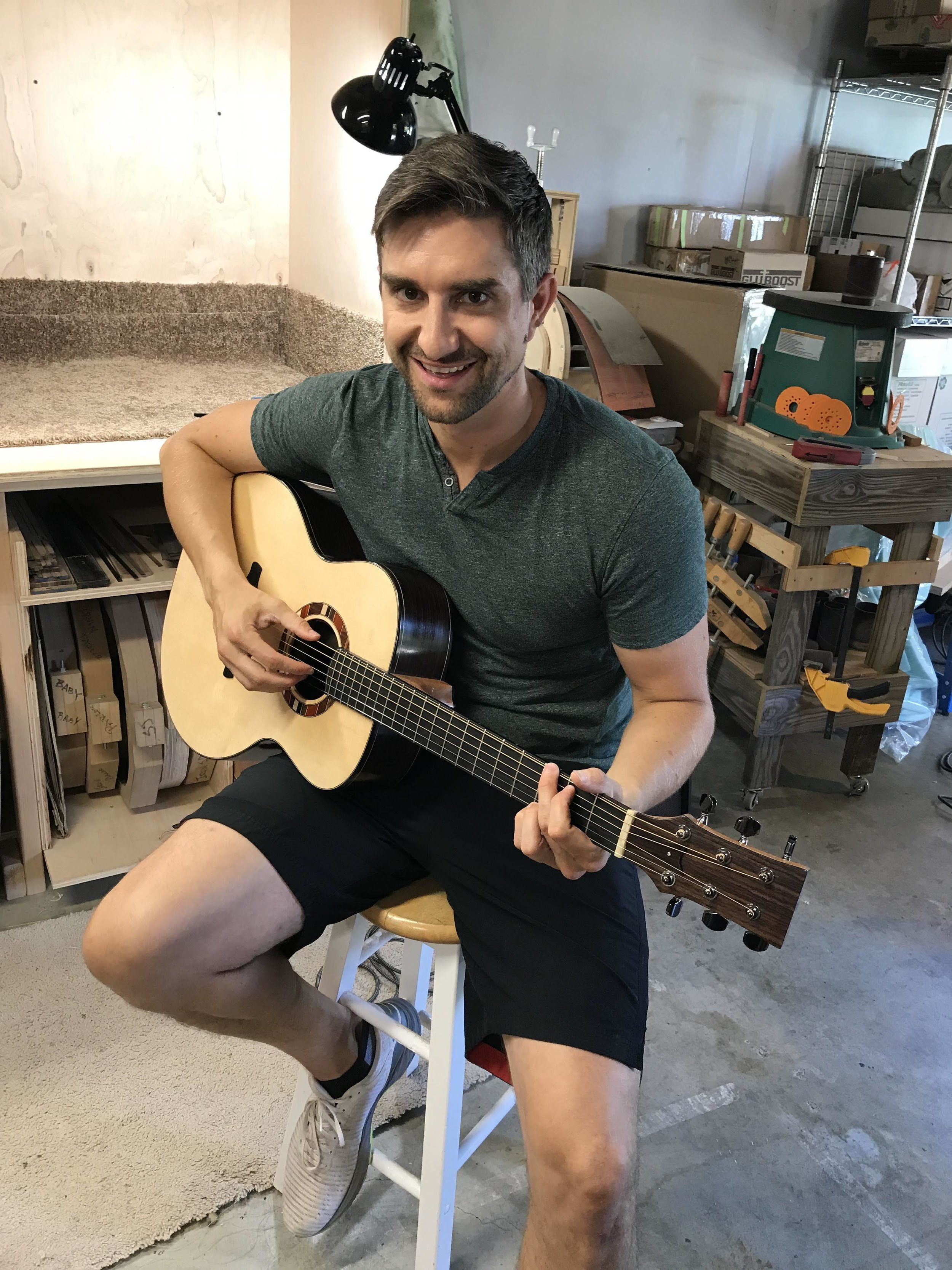 Student review - I first came across Irvin Guitars through an AirBnb tour in the spring of 2019, and was instantly captivated by Wayne's knowledge as a luthier. I'd been interested in woodworking for some time, but had very little experience in a shop or building anything by hand. Wayne immediately struck me as both a gifted craftsman and approachable teacher. I knew he'd be the perfect mentor.My training with Wayne consisted of over 150 hours in his shop, in which I designed and built my own acoustic guitar from start to finish. Throughout the process, I learned both the fundamentals of woodworking, as well as the fine intricacies of guitar craftsmanship. The end result is a beautiful, one of kind instrument that I'll proudly play for the rest of my life.Whether you're an aspiring luthier, or simply want to explore a new hobby, Wayne Johnson is the person to work with. He is generous with his time and knowledge, and has the trademarks of a gifted teacher: patience, knowledge, and humility. - A.C. August, 2019 graduate