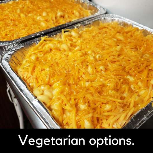 Mac N' Cheese Bar - Choice of two premium topping options: grilled chicken, bacon bits, smoked pork, avocado, or ground beefIncluded extras: grilled onion, grilled mushrooms, diced tomatoes, ranch, buffalo, and bbq.10 Meal Servings: 84.9520 Meal Servings: 165.95