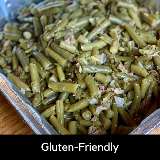 Loaded Green Beans - Seasoned. slow cooked green beans with diced onions and smoked pork.3 Pounds (Serves 10-12): 19.95Gluten-Friendly*.