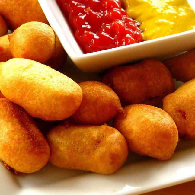 Pan of Mini Corn Dogs - Includes 6 oz Ketchup and Mustard.50 Mini Corn Dogs: 34.95
