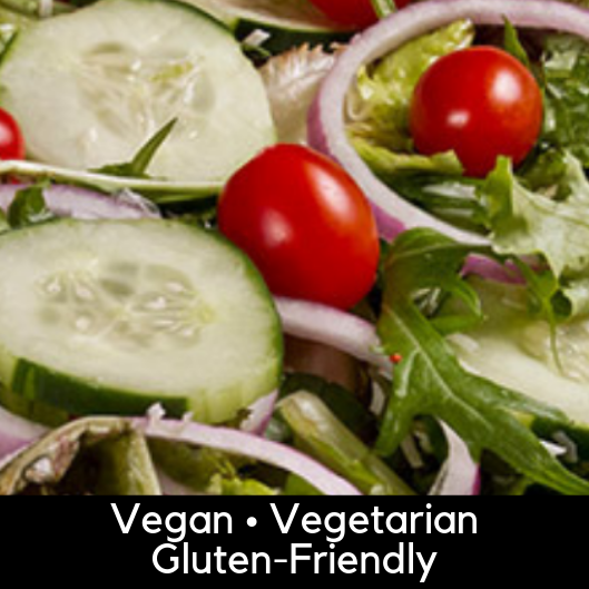Large House Salad Pan - Arcadia mix, cherry tomatoes, red onion, cucumbers. Add cheese if desired.Serves 12 (vegan, no cheese): 24.95Serves 12 (vegetarian, add shredded cheese): 24.95Vegan or Vegetarian