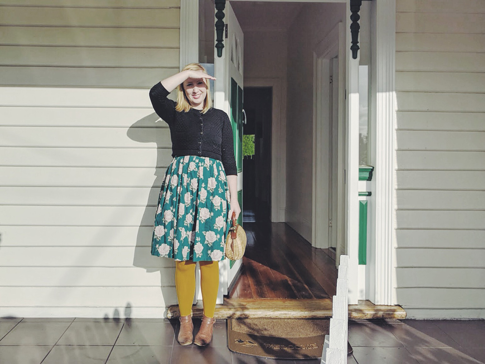Dress:  Princess Highway  |Cardigan:  Revival  |Tights:  Susan  |Shoes:  The Horse  | Bag: Thrifted