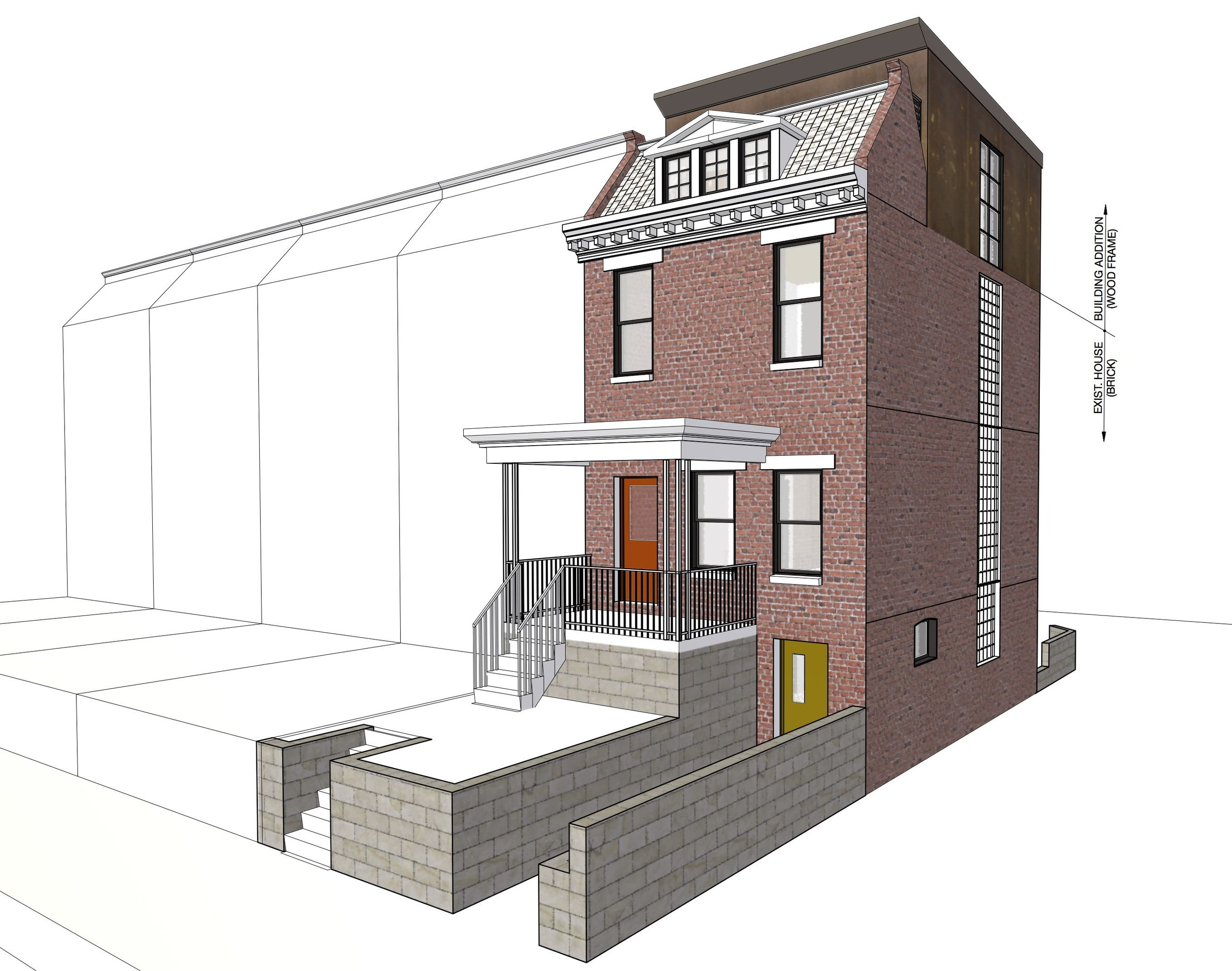 The proposed design, retains the original front facade.