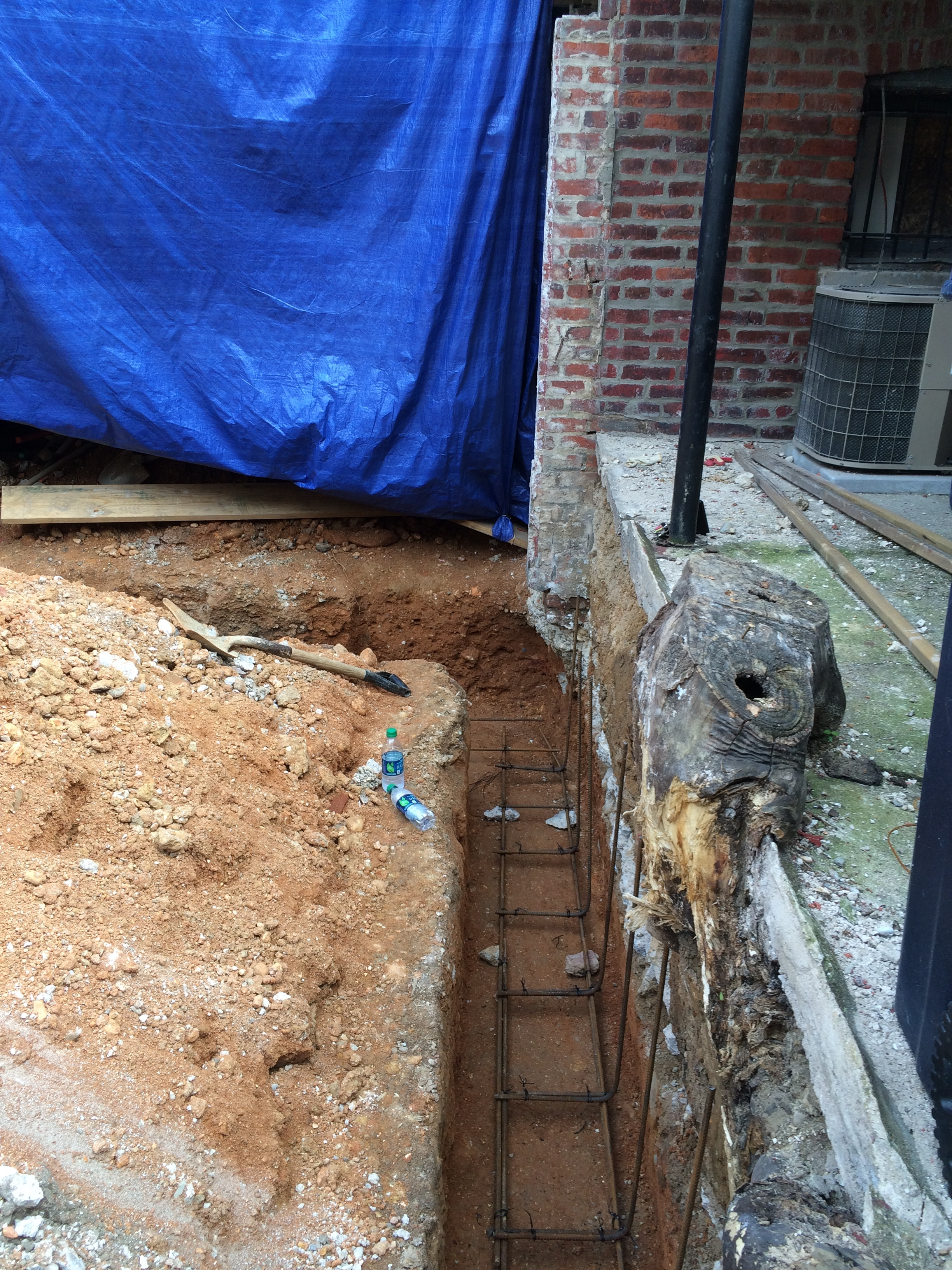 New trench for Garage foundations (ready for concrete to be poured).