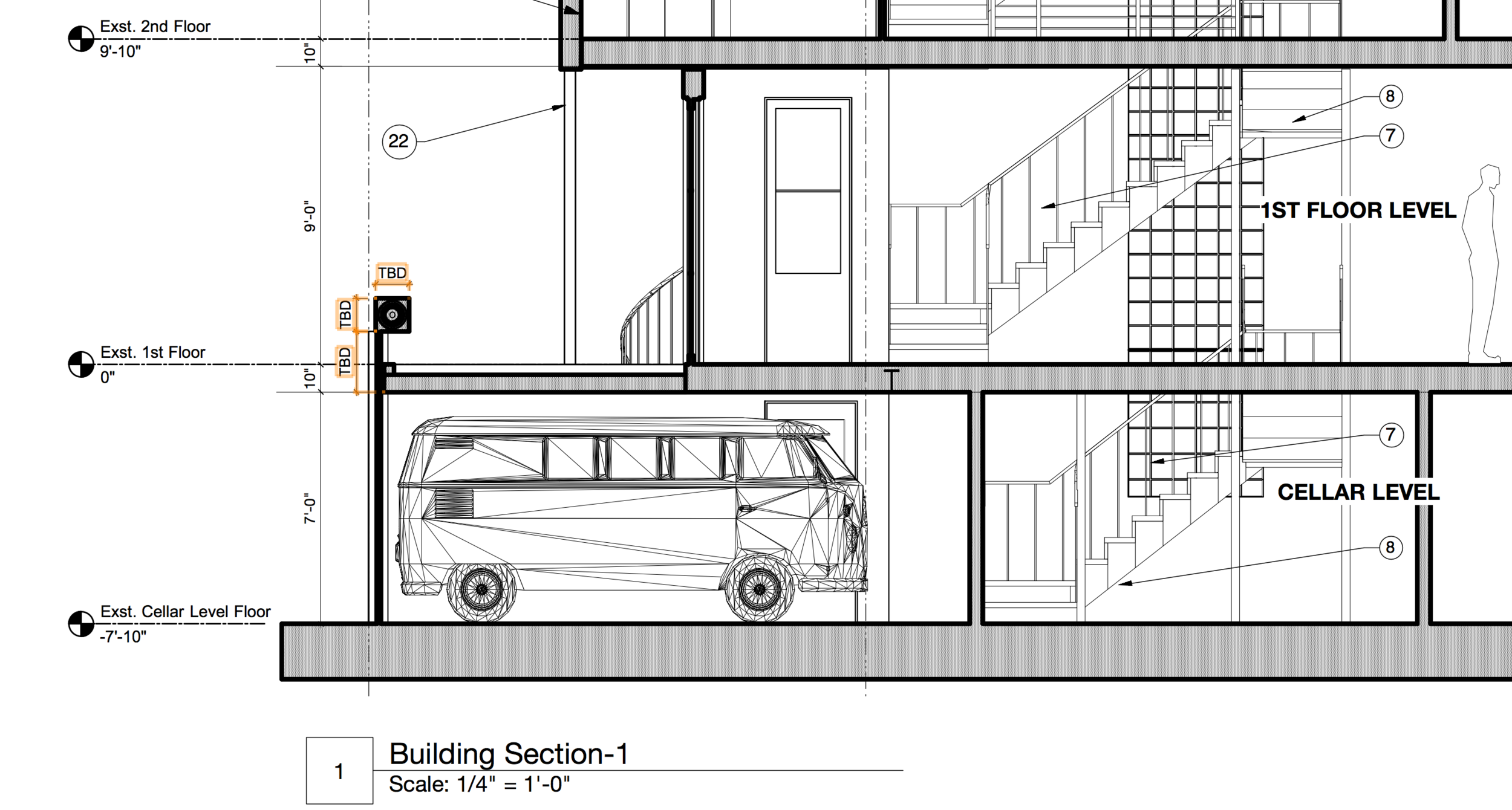 Section drawing through garage showing step-down in floor above garage and custom roll-up door at garage opening