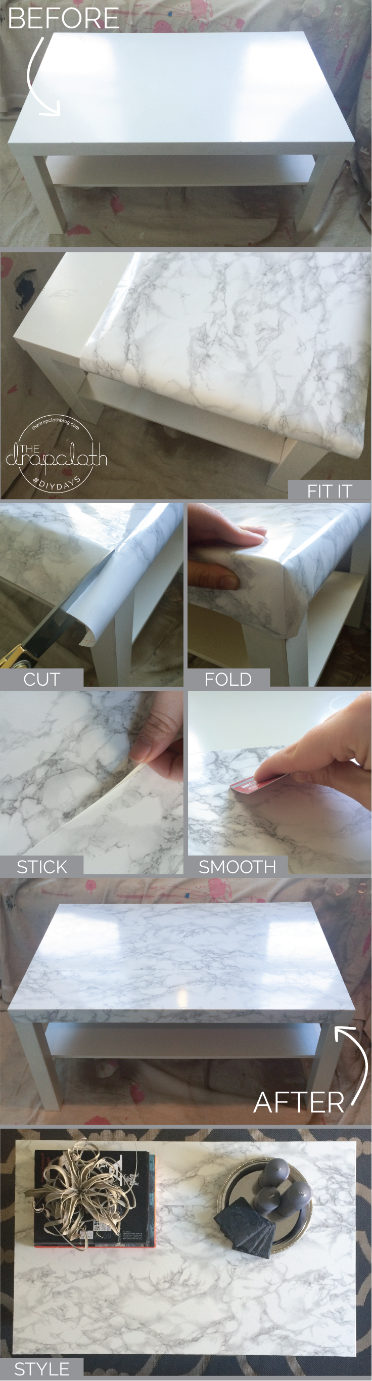 DIY: Ikea-Hack Faux Marbletop Coffeetable
