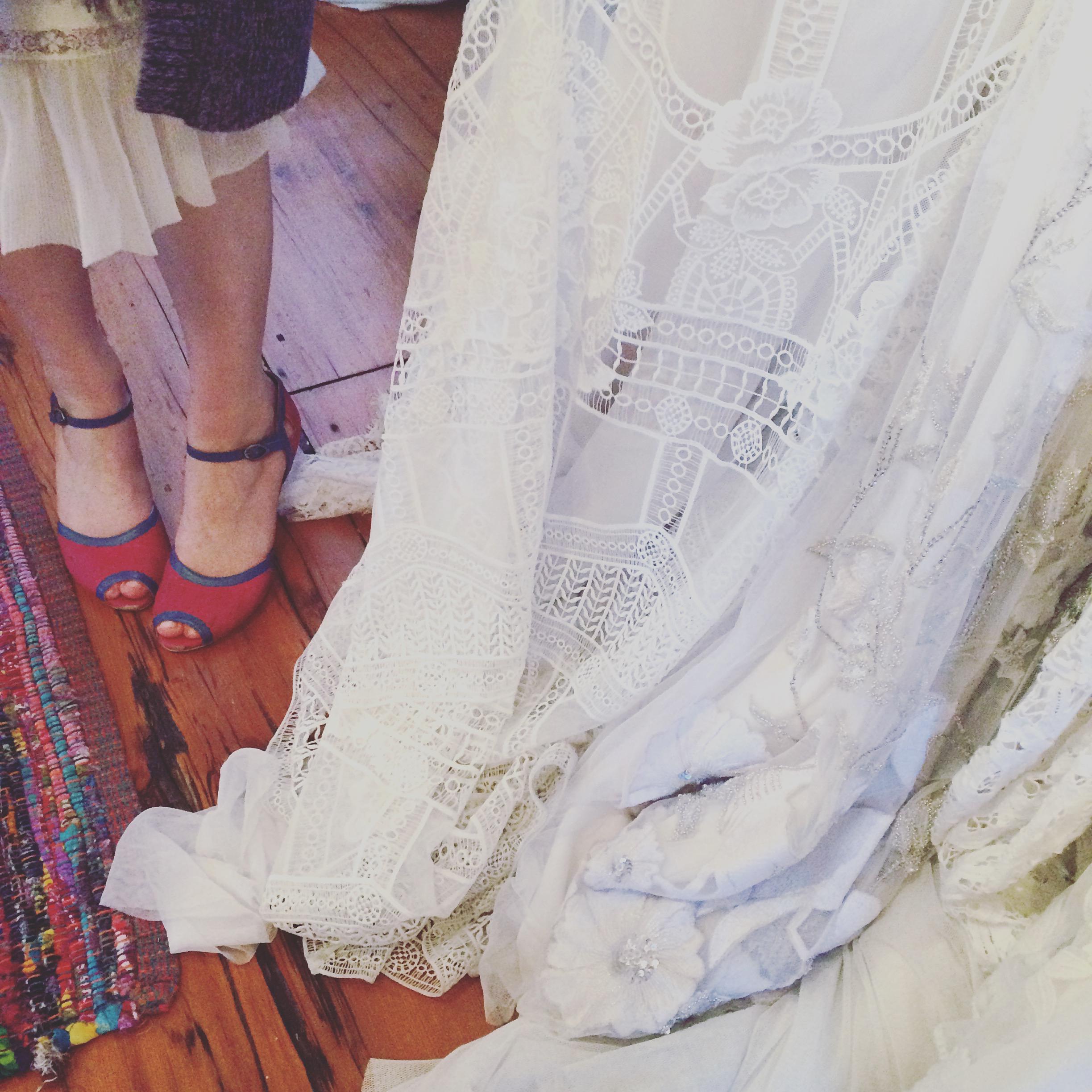 Beautiful lace of a  Rue de Sine  gown.