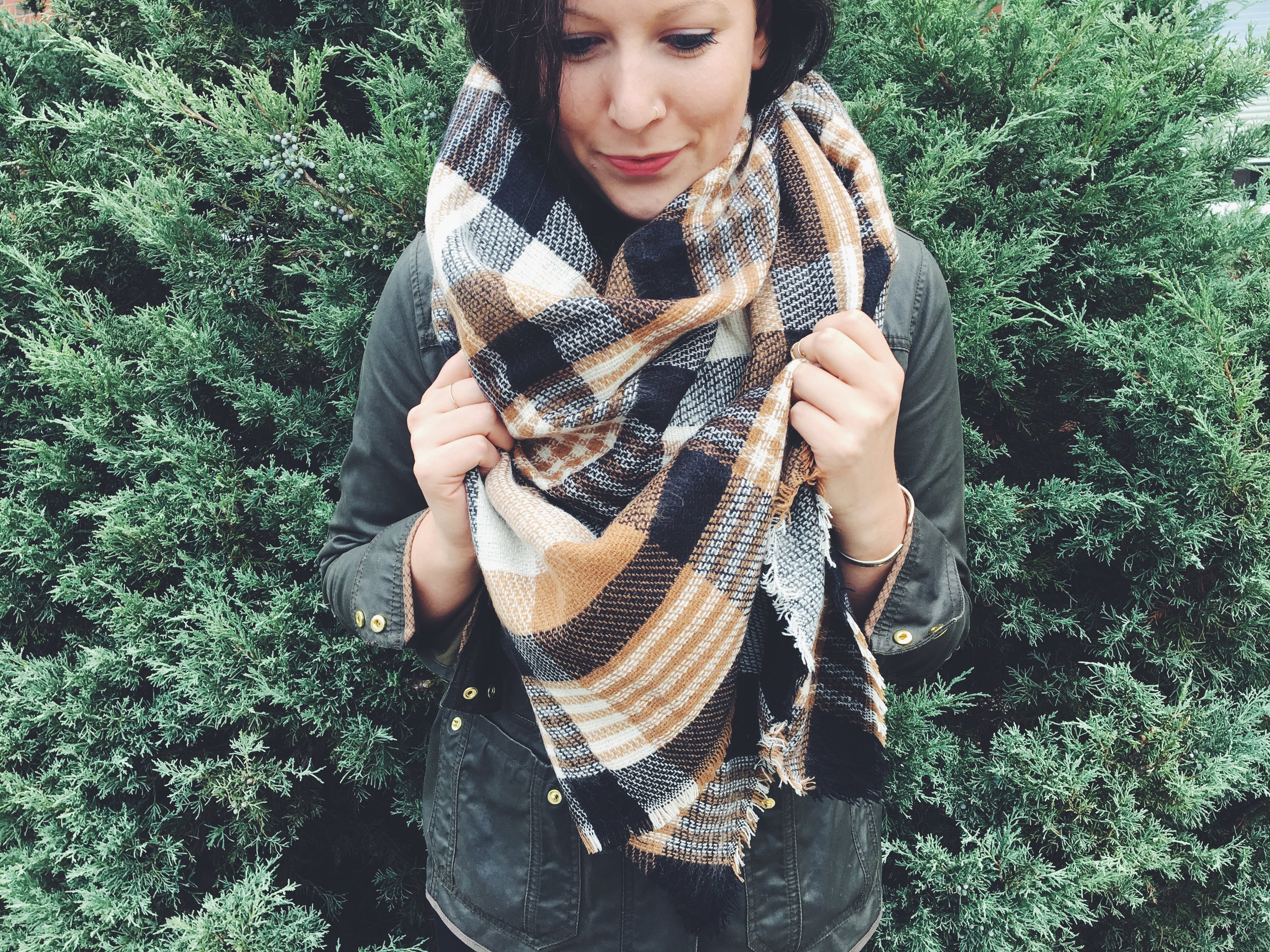 I am a huge fan of  Jillian Harris  (from HGTV and The Bachelorette) and saw her posting about this scarf and HAD. TO. HAVE. IT. My FabFitFun box came with a different color than hers but I loved it even more!