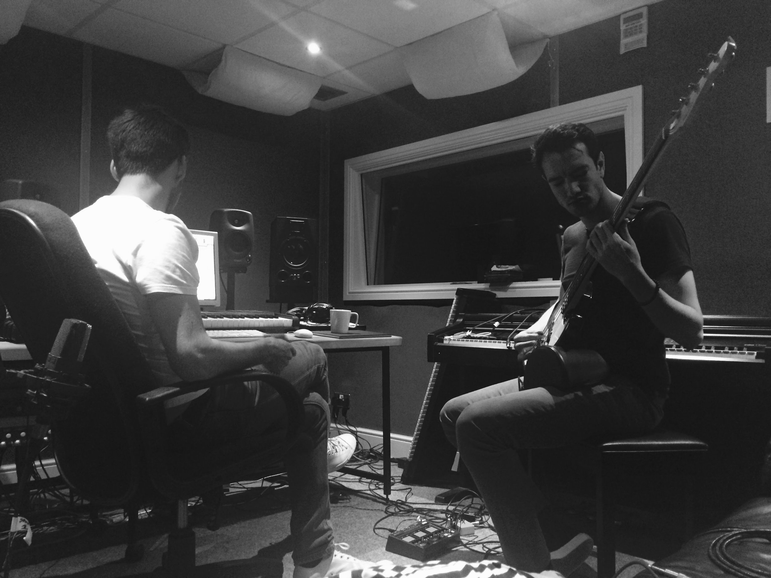 In the studio with Ross O'Reilly (left) and Samer Sharawi (right).