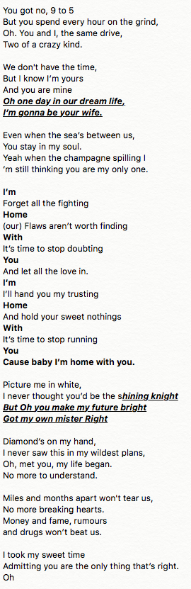 "1st Draft of ""Home With You"" lyrics"
