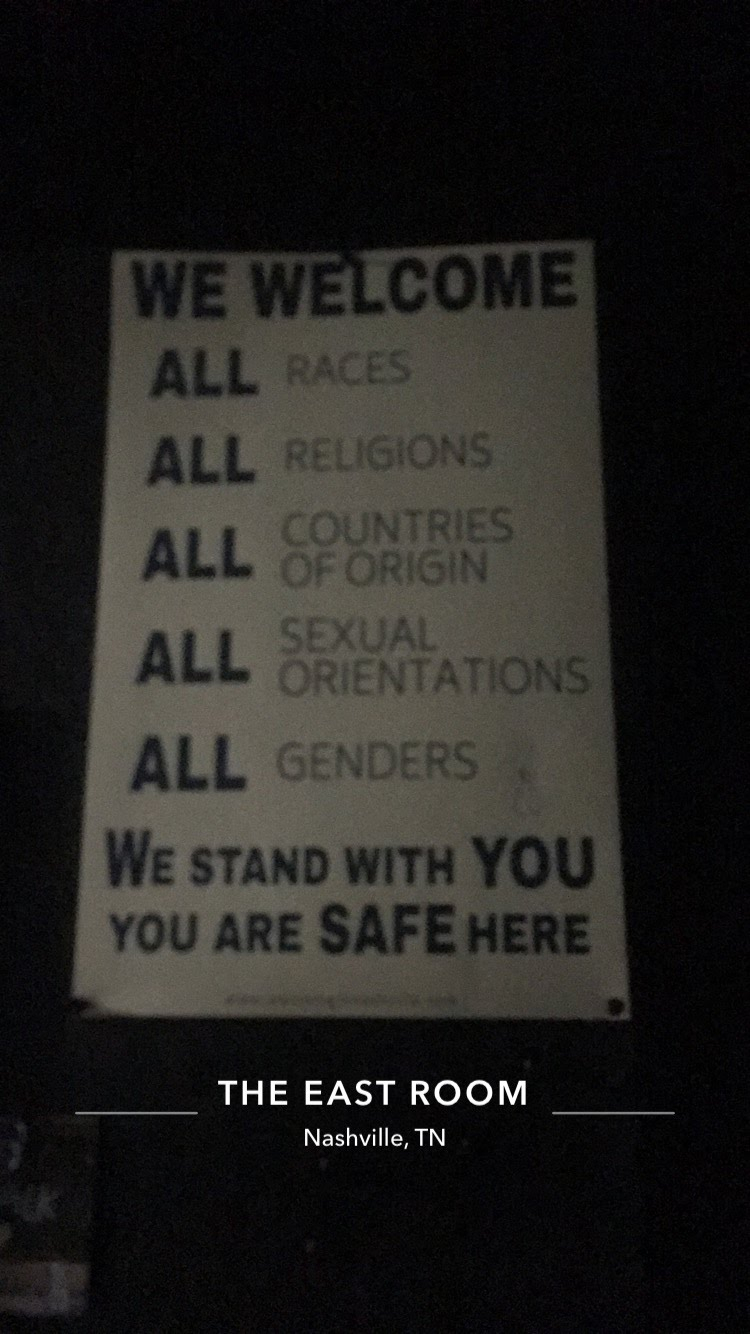 YES to this sign at The East Room, Nashville